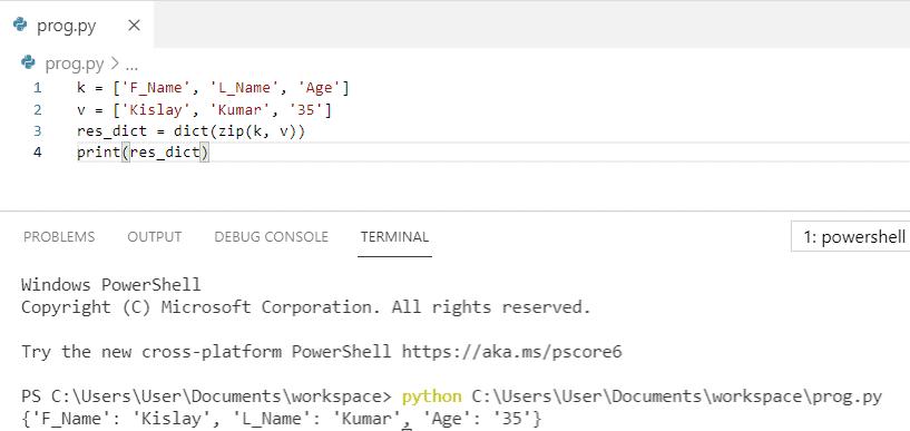 Python zip dictionary