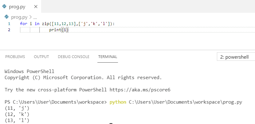 Python zip() example