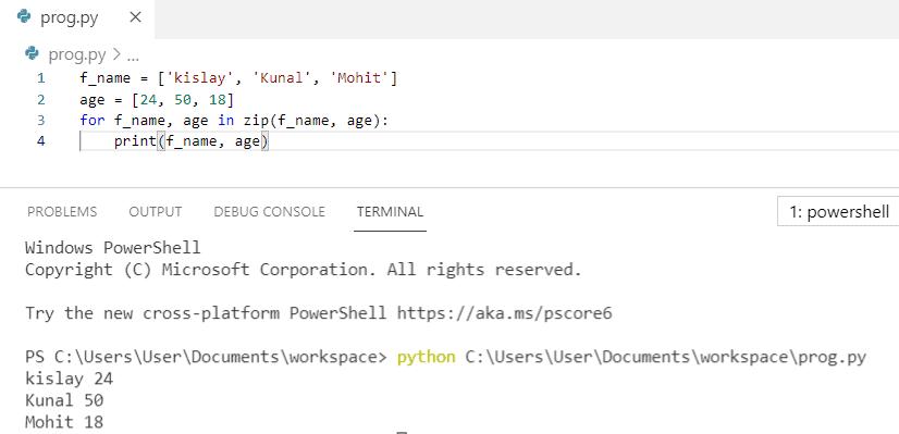 Python zip for loop