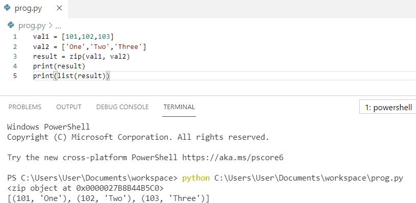Python zip object