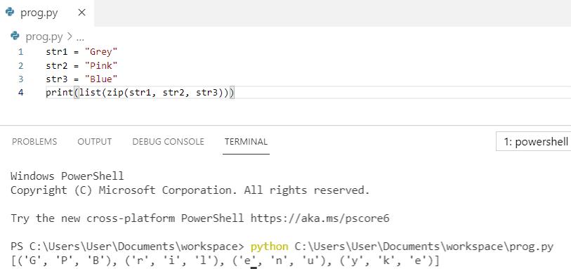 Python zip string
