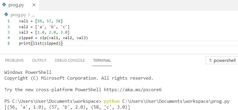Python zip three lists