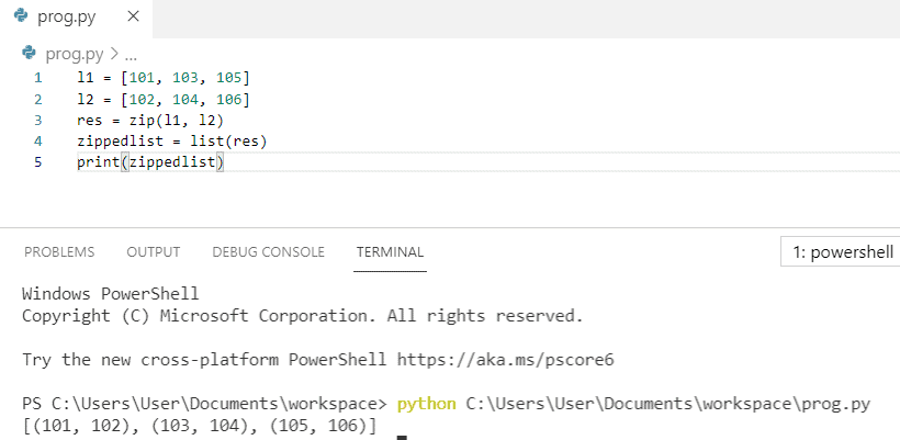 Python zip two lists