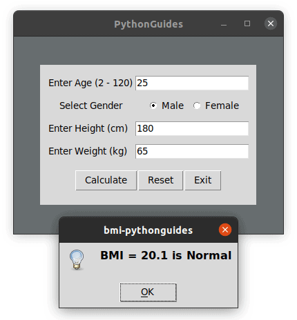 bmi calculator using python tkinter