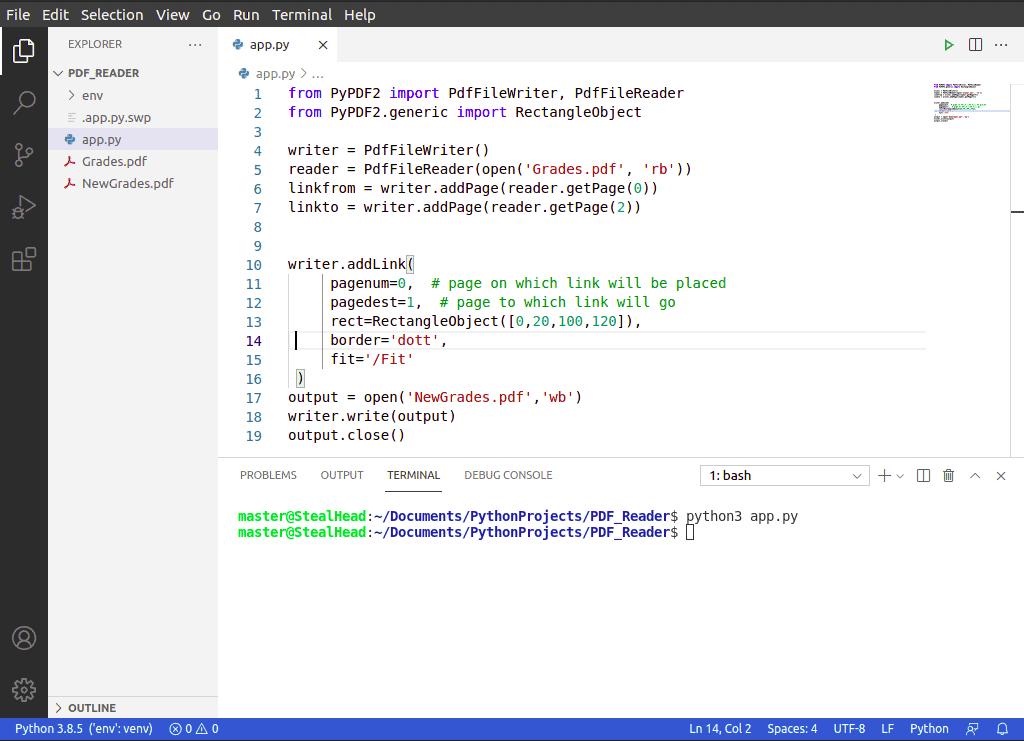 python PyPDF2 addLink