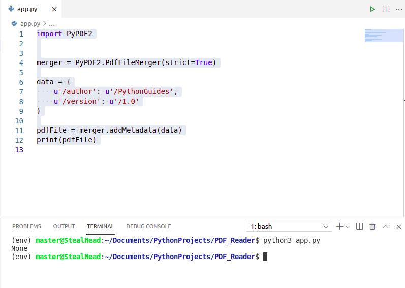 python PyPDF2 addMetadata