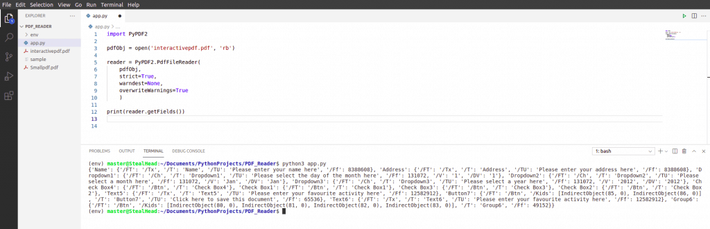 python tkinter PDF2 getFields