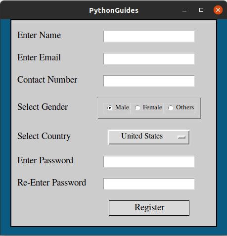 registration form using tkinter