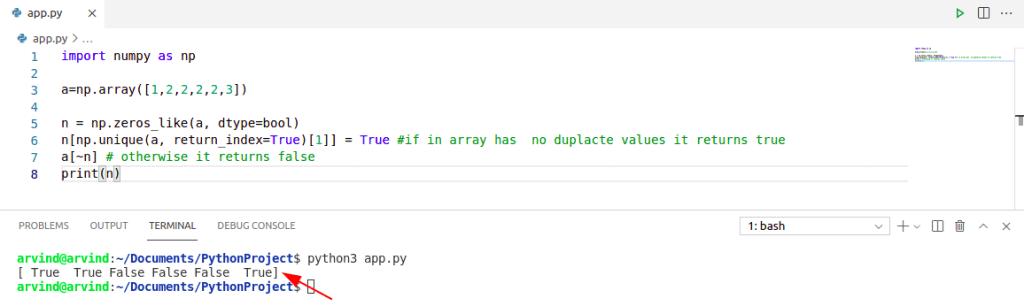 Check if numpy array has duplicates