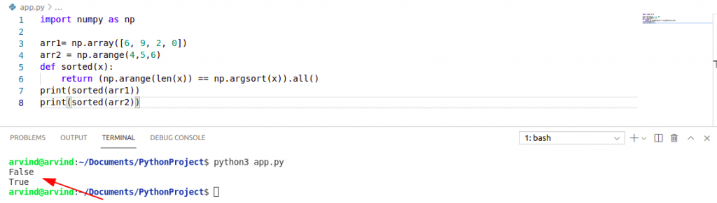 Check if numpy array is sorted