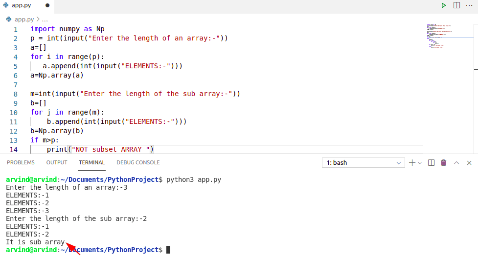 Check if numpy array is subset