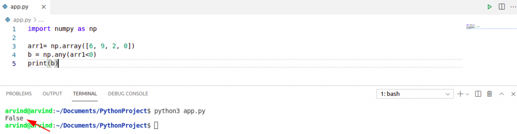 Check if the numpy array has negative values