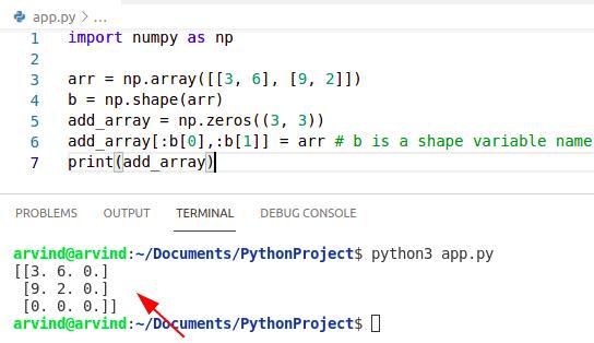 Python add zeros to the numpy array
