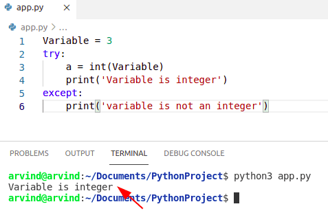 Python check if a variable is an integer try except method
