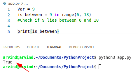 Python check if variable is between two numbers