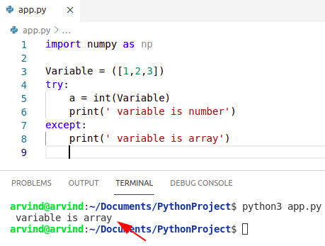 Python check if variable is number or array