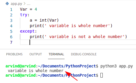 Python check if variable is whole number try except method