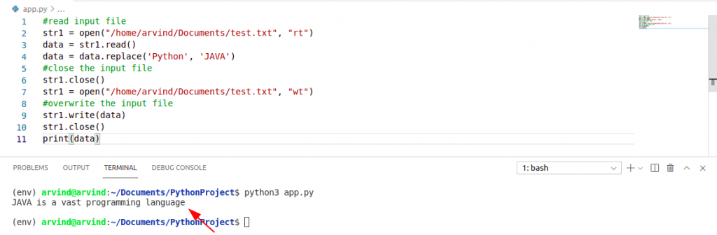 Python code to replace a string in a file