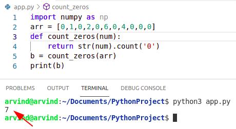 Python count zeros in numpy array