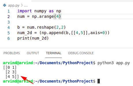 Python numpy append 2d array