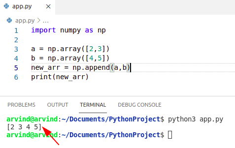 Python numpy append an element to the array