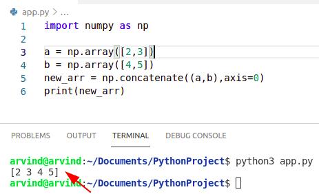 Python numpy append array to array