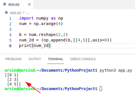 Python numpy append axis