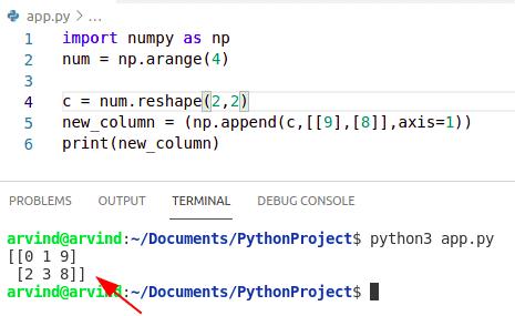Python numpy append column