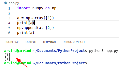Python numpy append not working