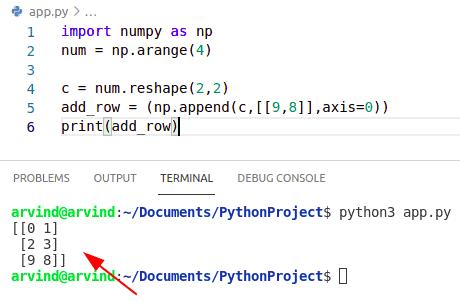 Python numpy append row