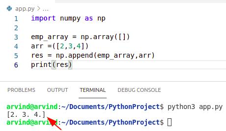 Python numpy append to empty array