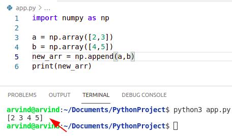 Python numpy append two arrays