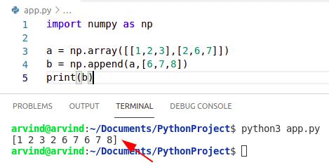 Python numpy append