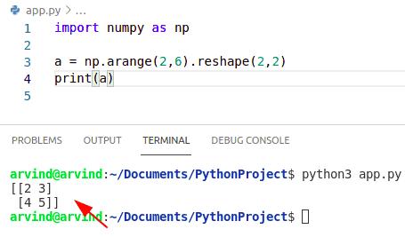 Python numpy arange 2d