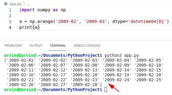 Python numpy arange datetime