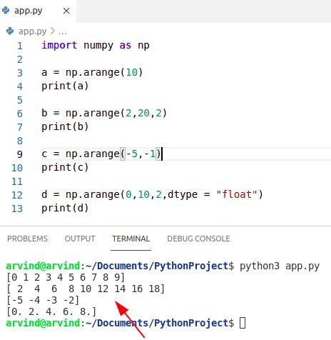 Python numpy arange examples