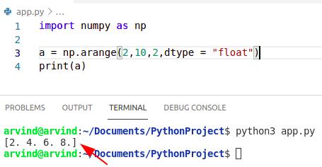 Python numpy arange float