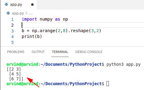 Python numpy arange reshape