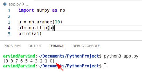 Python numpy arange reverse