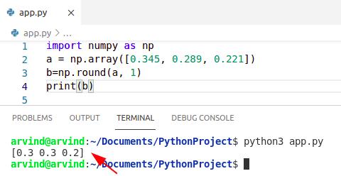 Python numpy arange round