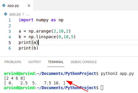 Python numpy arange vs linspace