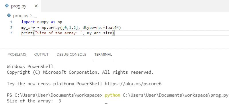 Python numpy array size