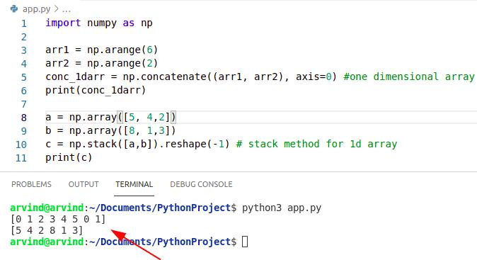 Python numpy concatenate 1d arrays