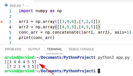 Python numpy concatenate 2 arrays