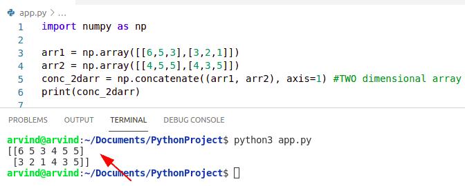 Python numpy concatenate 2d arrays