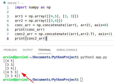 Python numpy concatenate 3d arrays