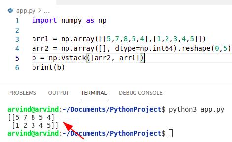 Python numpy concatenate empty array