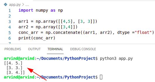 Python numpy concatenate float