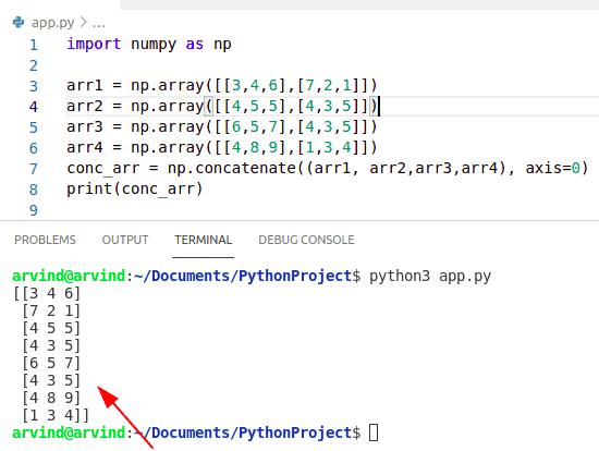 Python numpy concatenate multiple arrays