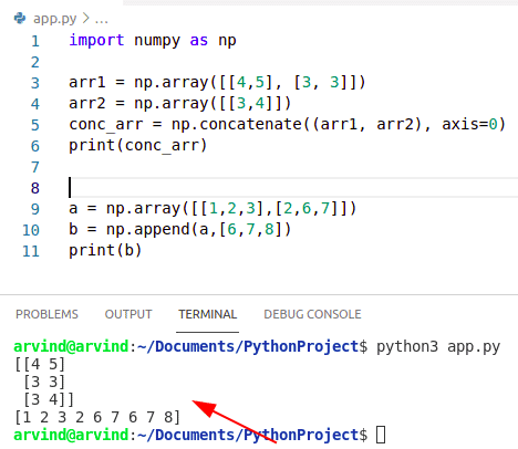 Python numpy concatenate vs append